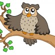 Stock Vector: Owl on branch