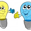 Pair of cute lightbulbs - Stock Vector