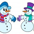 Pair of cute snowmen — Stock Vector