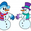 Pair of cute snowmen — Stock Vector #2259544