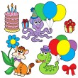 Party animals collection — Stock Vector