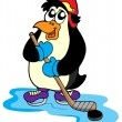 Penguin hockey player - Stock Vector