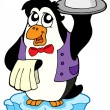 Penguin waiter on icebeg — Stock Vector