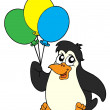 Penguin with balloons — Stock Vector