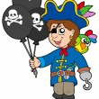 Pirate boy with balloons — Stock Vector