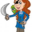 Pirate girl with parrot and sabre — Stock Vector