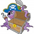 Pirate octopus with chest — Stock Vector