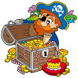 Pirate opening treasure chest - Stock Vector
