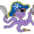 Stock Vector: Pirate octopus with sabre