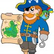 Pirate with treasure map — Stock Vector