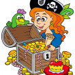 Pirate woman opening treasure chest - Stock Vector