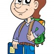 Stock Vector: Pupil boy with school bag
