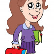 Stock Vector: Pupil with school bag