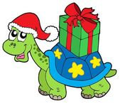Christmas turtle with gift — Stock Vector