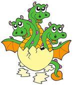 Little three headed dragon in egg — Stock Vector