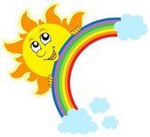 Sol al acecho con arco iris — Vector de stock