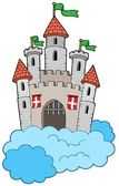 Medieval castle on clouds — Stock Vector