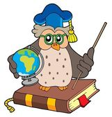 Owl teacher with globe — Stock Vector