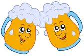 Pair of cartoon beers — Stock Vector