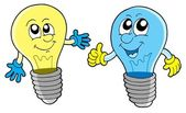 Pair of cute lightbulbs — Stock Vector
