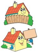 Pair of cute houses — Stock Vector