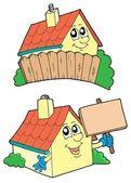 Pair of cute houses — Stock Vector