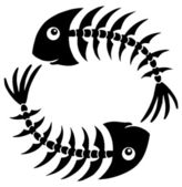 Pair of fishbones — Stock Vector
