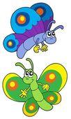 Pair of smiling butterflies — Stock Vector