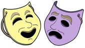 Pair of theatre masks — Stock Vector