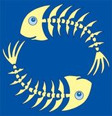 Pair of yellow fishbones on blue — Stock Vector