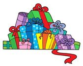 Pile of various gifts — Stock Vector