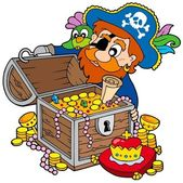 Pirate opening treasure chest — Vector de stock