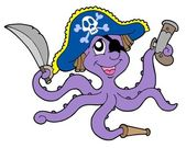 Pirate octopus with sabre — Stock Vector
