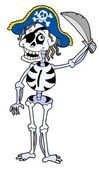 Pirate skeleton with sabre — Stock Vector