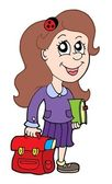 Pupil with school bag — Stock Vector