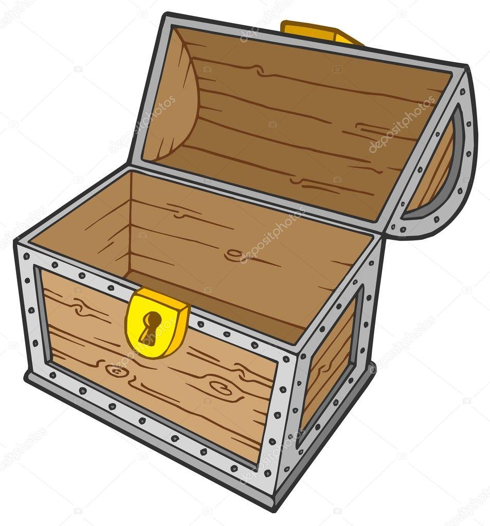 Open empty treasure chest — Stock Vector © clairev #2259414