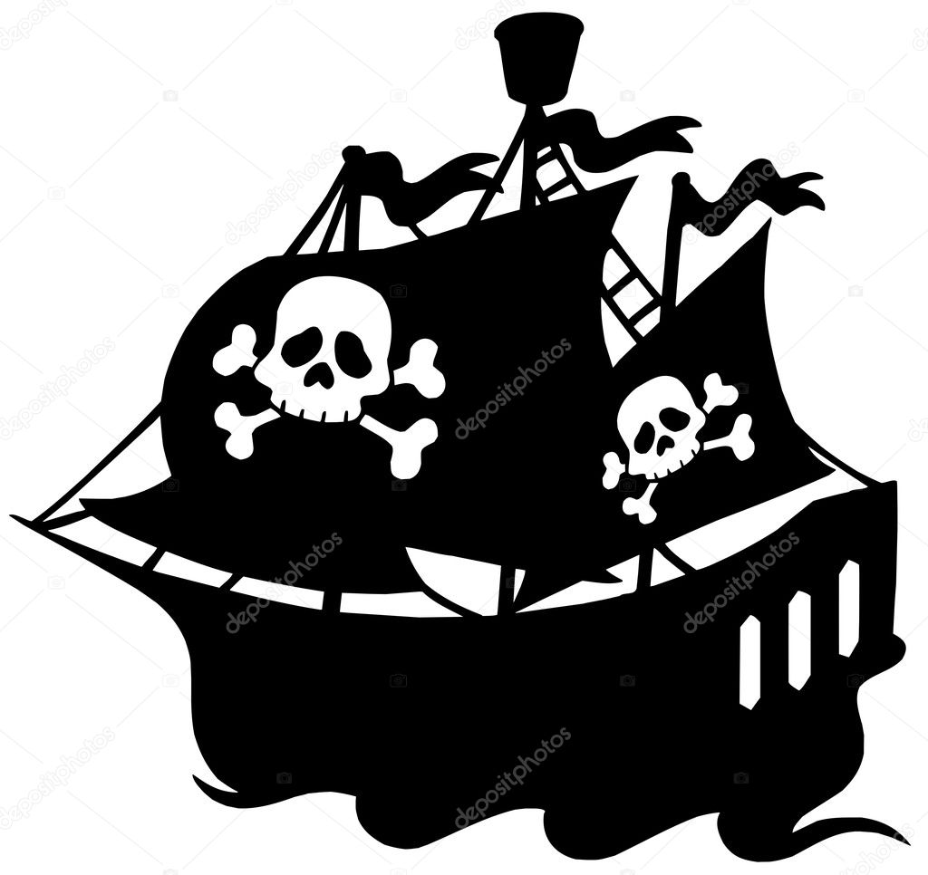 Pirate ship silhouette - vector illustration. — Stock Vector #2259856