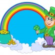 Rainbow circle with leprechaun - Stok Vektör