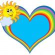 Rainbow heart with Sun — Vector de stock