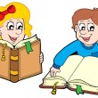 Stock Vector: Reading boy and girl