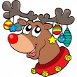 Stock Vector: Reindeer with Christmas decorations