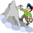 Rock climber on mountain — Stock Vector