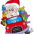 Stock Vector: SantClaus driving car