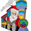 Santa Claus on train — Stock Vector