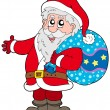 Santa Claus with more gifts - Stock Vector