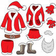 Santa Clauses clothes collection — Stock Vector