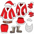 Santa Clauses clothes collection - Stock Vector