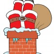 Santa Clauses legs with chimney - Stock Vector