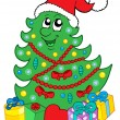 Smiling Christmas tree with gifts - Stock Vector