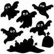 Stock Vector: Scary ghosts silhouettes collection